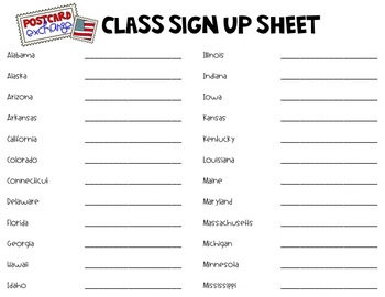 Postcard Exchange Parent Letter and Class Sign Up Sheet