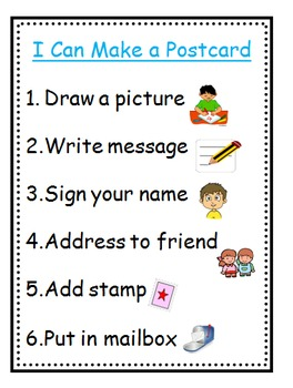 Postcard Making Preschool Writing Center Kit