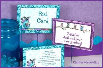 Postcard – Multipurpose – Coordinates with Book Smart Owls Classroom Theme