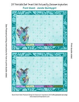 Postcard – Multipurpose – Coordinates with Book Smart Owls