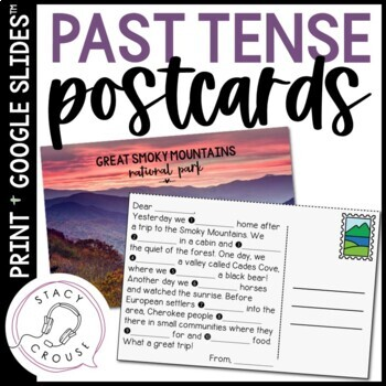 Postcard Past Tense Verbs for Regular and Irregular Verb Practice