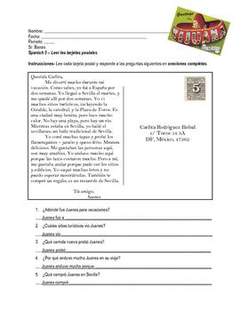Postcard Reading Comprehension