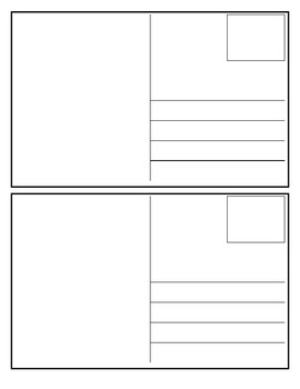 Postcard Template....perfect for writing centers