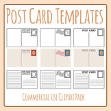 Postcard Templates Blank Clip Art Set for Commercial Use