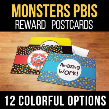 Postcard Templates for Student Rewards Monster Theme