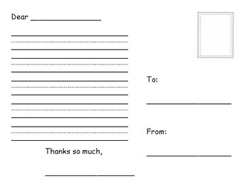 Postcard Writing Template with Pictures for Primary Grades