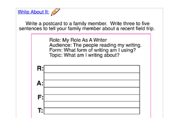 Postcard Writing Template with Writing Prompt and RAFT PreWriting Strategy