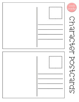 Postcard template- write a postcard as a character