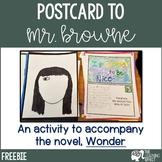 Wonder Novel Activity - Postcard to Mr. Browne | FREE