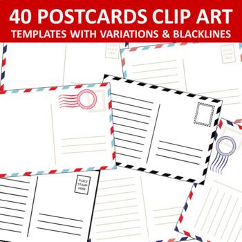 Postcard Templates Clip Art Set