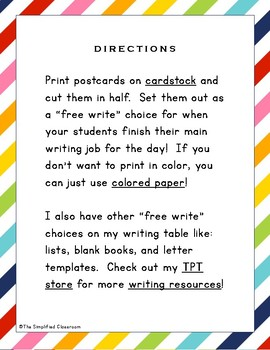 Postcards for Free Write Choices {FREEBIE!}