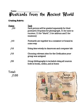 Postcards from the Ancient World Project & Rubric