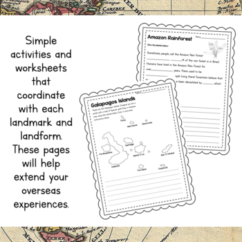 South America Unit Study: Postcards of South America Landmarks and Landforms