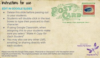 Postcards to Characters - Writing in the Daily 5 Using Google Slides