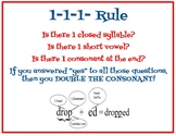 Poster 1-1-1 rule for doubling with suffix -ed -ing