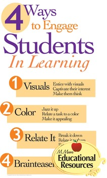 """Poster ~ 4 Ways to Engage Students in Learning - 24"""" x 36"""""""