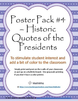 Poster 8-Pack #4 - Quotations of US Presidents - Inspirational and Thoughtful