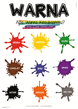 Poster About Warna (Colors in Indonesian)