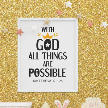Poster Bible Verse With God All Things Are Possible By Darrakadisha