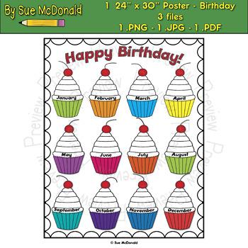 "Poster - Birthdays - 24"" x 30"" High Quality Vector Graphics"