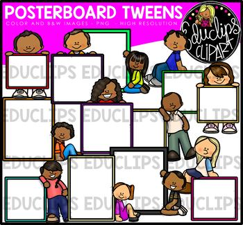 Poster Board Tweens Clip Art Bundle {Educlips Clipart}