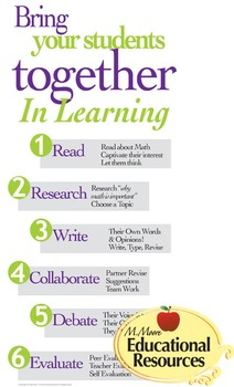 Poster ~ Bring Students Together for Learning ~ Math, Reading, Writing,