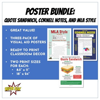 Poster Bundle: MLA Style, Cornell Notes, and Quote Sandwich
