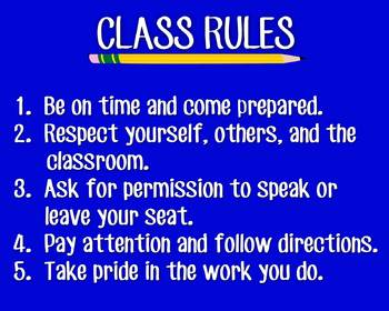 Poster - Class Rules (Middle or High School)