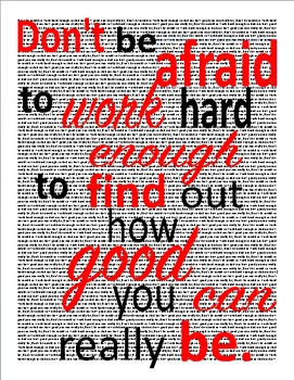 "Poster: ""Don't be afraid to work hard enough..."