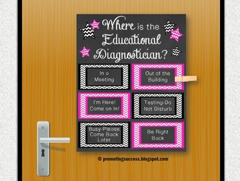 Educational Diagnostician Office Door Sign Pink and Black
