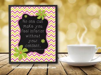 Eleanor Roosevelt Inspirational Quote Poster for Chevron Classroom Decor