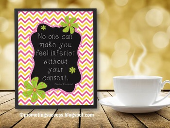 Eleanor Roosevelt Inspirational Quote Poster for Chevron Classroom Decor
