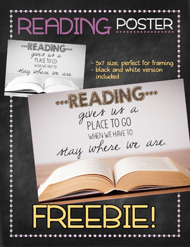 Poster FREEBIE: Reading Gives You a Place to Go