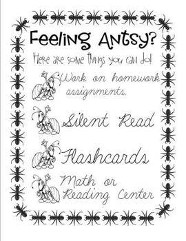 Poster - Feeling Antsy? - Great to display for students who finish quickly!