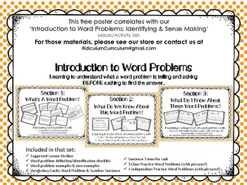 Poster For Introduction to Word Problems:Idenitfying and Sense Making Lesson