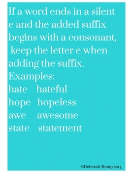Poster For Teaching Adding Suffixes to Words Ending in Silent e