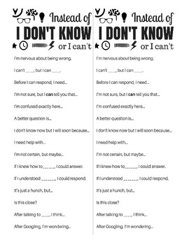 Poster & Handout: Sentence Stems To Replace 'I Don't Know' or 'I Can't'