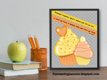 Cupcake Classroom Decor, Happiness Inspirational Quote Poster - large