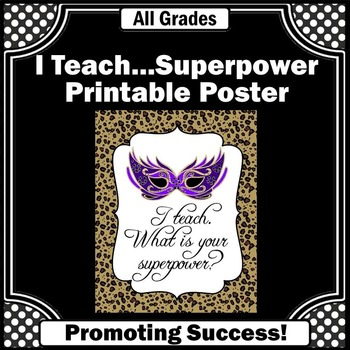 I Teach What is Your Superpower? End of Year Teacher Thank You Leopard Print