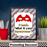 Red & Blue End of the Year Teacher Appreciation Gift, Superpower Quote Poster