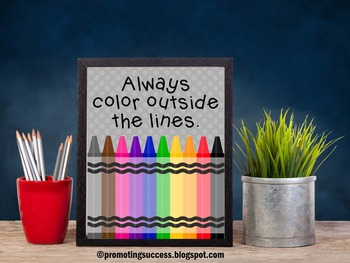 Always Color Outside the Lines Diversity Poster, Crayons Decor