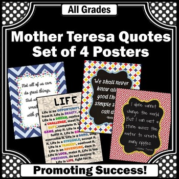 Classroom Decor Set of 4 Printable Posters with Mother Ter