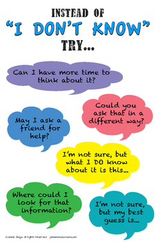 "Poster: Instead of ""I don't know"" (PYP, growth mindset)"