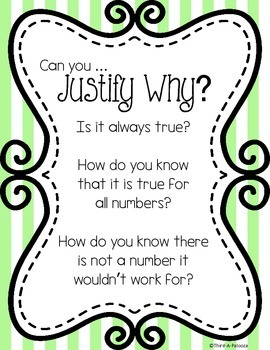 Poster: Justify Why - Mathematical Habits