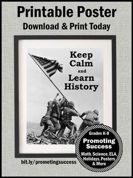 Gift for History Teacher Appreciation Week, Iwo Jima History Poster, End of Year