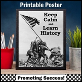 Keep Calm and Learn History Poster Iwo Jima Social Studies Classroom Decor