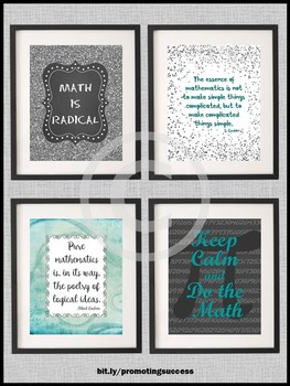 Keep Calm and Do the Math Posters  8x10 or 16x20 Teal and Black