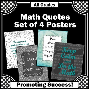 Math Posters for Back to School Teal Gray & Black Classroom Decor