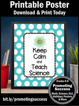 Keep Calm and Teach Science Poster, End of Year Teacher Appreciation Gift