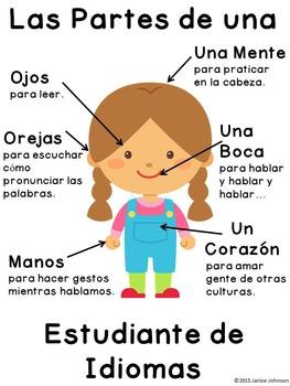 Poster: Las partes de un/una estudiante de idiomas  {Versi